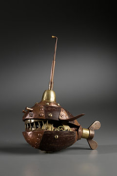 Steampunk Object Fish Made Of Coconut With Metal Elements