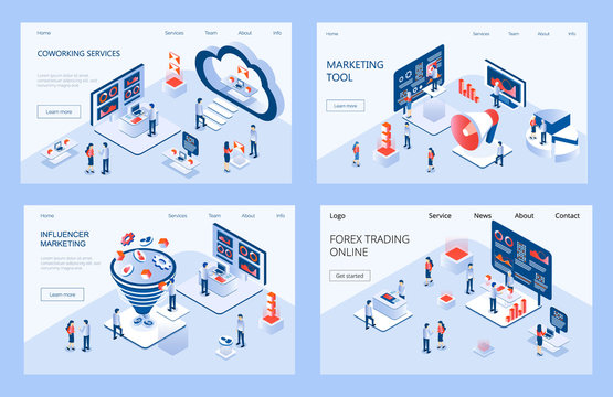 Influencer marketing isometric concept vector for landing page. Impact on B2C customers, potential buyers or consumer products in online market.