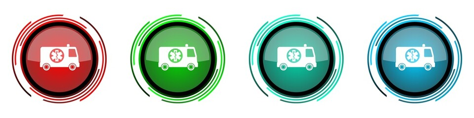 Fotomurales - Ambulance round glossy vector icons, set of buttons for webdesign, internet and mobile phone applications in four colors options isolated on white background