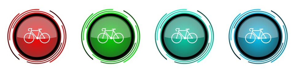 Fotomurales - Bicycle round glossy vector icons, set of buttons for webdesign, internet and mobile phone applications in four colors options isolated on white background