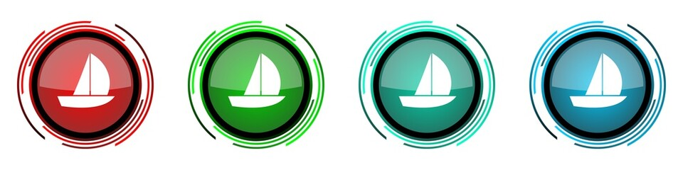 Fotomurales - Yacht round glossy vector icons, set of buttons for webdesign, internet and mobile phone applications in four colors options isolated on white background