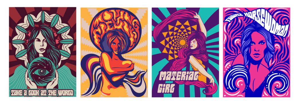Set of four different covers or poster designs of psychedelic girls in modern stylised style, colored vector illustration