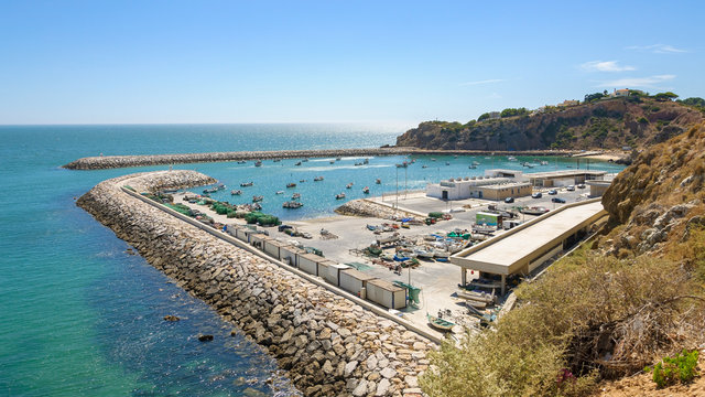 View of fishing port in Albufeira in Portugal