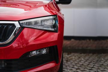 headlight front light of a modern car clean technical design transport stock photo