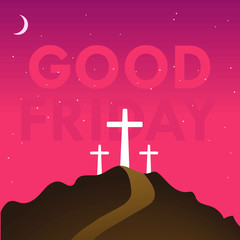 Good Friday vector concept with crucifixion of Jesus Christ and other two thieves atop of the hill in orange evening sky background and transparent Good Friday text