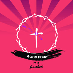 """Layout of Good Friday vector concept with a cross inside crown of thorns and """"Good Friday"""