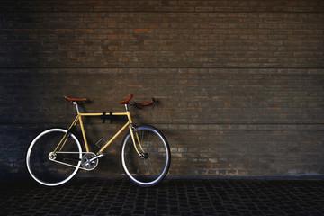 Printed roller blinds Bicycle Commuting Bike in vintage style in dark garage