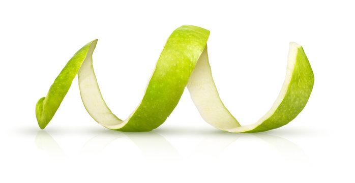 RW peeling green apple on a white background