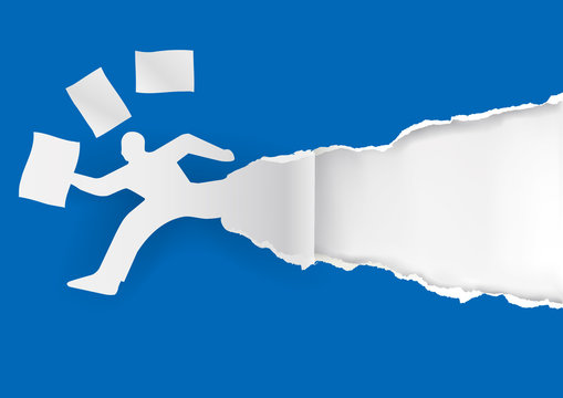 Businessman running in a hurry with papers.  Paper man silhouette with flying documents ripping blue paper with place for your text or image. Template for a original advertisement. Vector available.