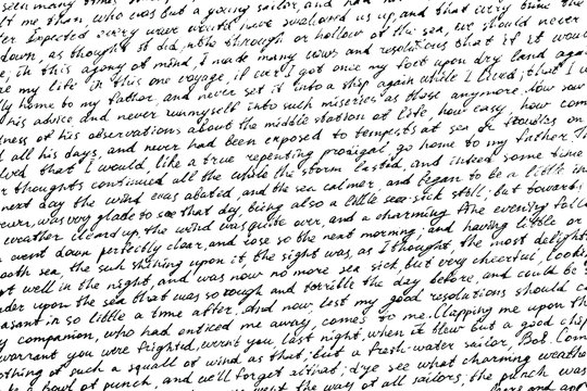 Monochrome background of careless ink writing. Handwritten letter texture. Overlay template. Vector illustration