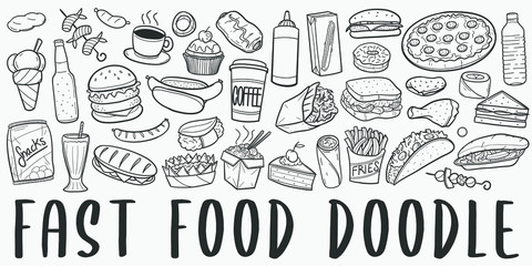 Fototapeta Fast Food Doodle Line Art Illustration. Hand Drawn Vector Clip Art. Banner Set Logos. obraz