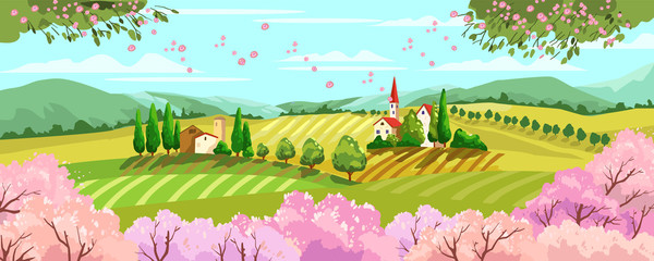 Garden Poster Light blue Horizontal Italian landscape with village, wineyards, blooming trees, cypresses and houses. Rural spring banner with sakura and plum trees, mountains, hills and buildings in cartoon hand drawn style