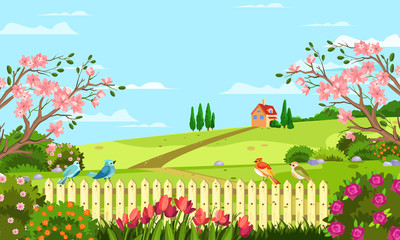 Horizontal spring landscape with fence, tulips, roses, blooming trees and bushes, hills, birds and house. Rural illustration with summer garden in cartoon flat style for banners, backgrounds, advertis
