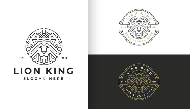 Line art lion logo design