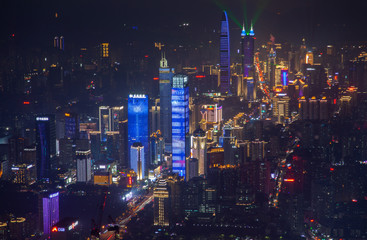 flashing Shenzhen skyscrapers in Luohu district