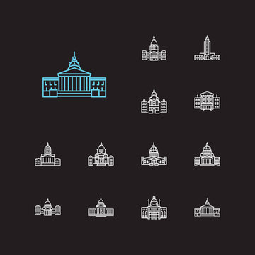 America icons set. Louisiana state capitol and america icons with senate, new hampshire state capitol and federal. Set of history for web app logo UI design.