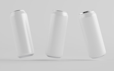 16 oz. / 500ml Aluminium Can Mockup - Three Cans. Blank Label.  3D Illustration