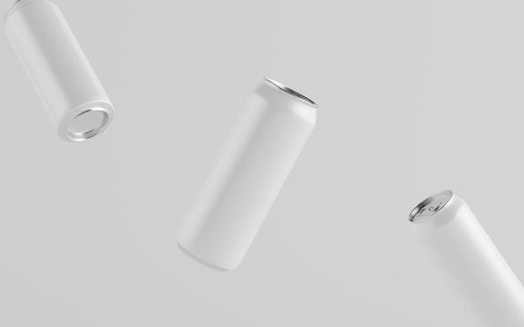 16 oz. / 500ml Aluminium Can Mockup - Three Floating Cans. Blank Label.  3D Illustration