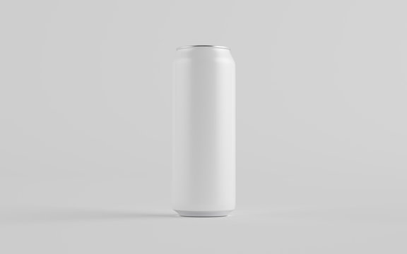 16 oz. / 500ml Aluminium Can Mockup - One Can. Blank Label.  3D Illustration