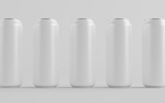 16 oz. / 500ml Aluminium Can Mockup - Multiple Cans. Blank Label.  3D Illustration