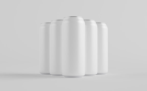 16 oz. / 500ml Aluminium Can Mockup - Multiple Cans. Blank Label.  3D Illustration