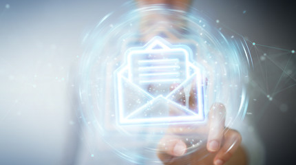 Woman using digital email blue holographic interface 3D rendering