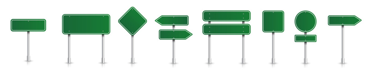 Obraz Set of green road signs. Directional signs. Realistic style. Vector graphics. - fototapety do salonu