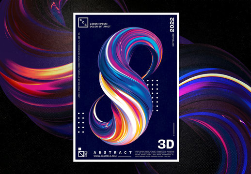 Abstract 3D Paint Brush Shape Poster Layout