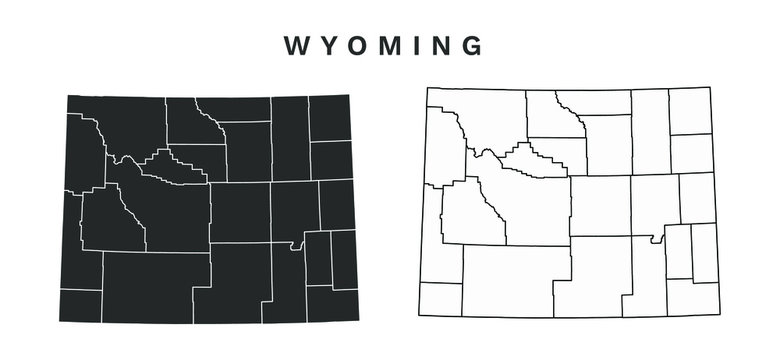 Wyoming State Map Vector - Blank Map of Wyoming Counties Editable Vector Illustration Black silhouette and outline