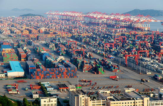 Chinese containers in Yangshan Port in Shanghai