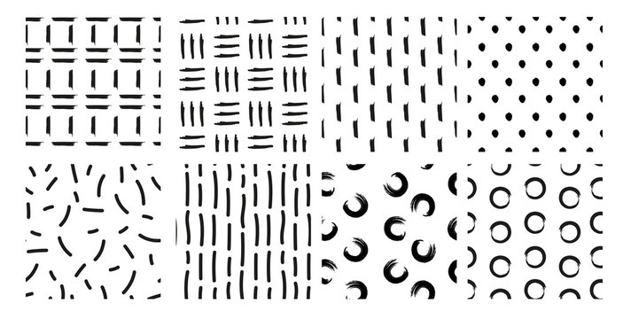 Vector illustration set of hand drawn seamless patterns, textures. design elements collection. points, strokes, ornament in grunge style on white background.