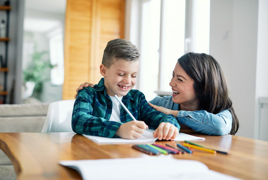 homework teaching education mother children son familiy childhood