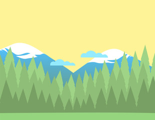 Summer nature landscape background with forest and snowy mountains and clouds. Coniferous trees silhouettes. Vector illustration.