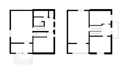 Black and White floor plans of a modern apartment. Vector interior for your design. Architectural background.