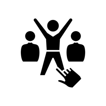 Sucessful employee black icon, concept illustration, vector flat symbol, glyph sign.