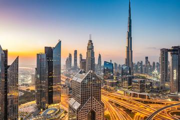 Printed roller blinds Dubai sunrise over Dubai Downtown skyline