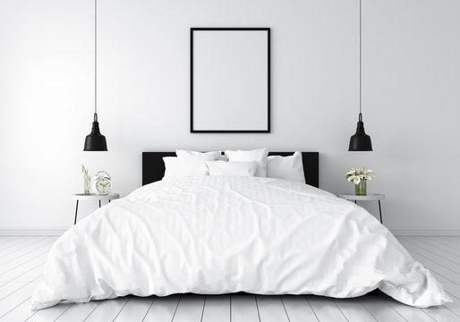 Blank photo frame for mockup in  white bedroom, 3D rendering