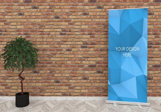 Roll Up Banner Mockup Composition with Red Brick Wall