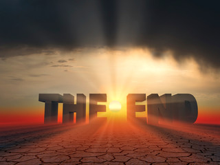 """the word """"the end"""" in 3d letters on sunset background"""