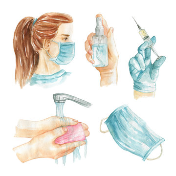Prevention of viral diseases. Coronavirus concept. Hand washing, vaccination, sanitizer and girl wearing medical mask. Watercolor illustration