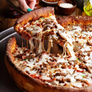 Deep dish meat pizza