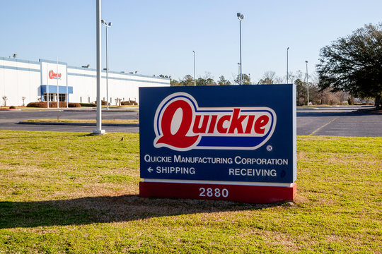 Lumberton, North Carolina, USA - February 29, 2020: Sign of Quickie Manufacturing Corporation in Lumberton, North Carolina, a supplier and distributor of cleaning tools and supplies.