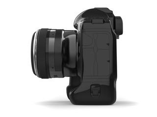 Modern professional black photo camera - side view