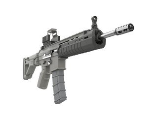 Futuristic military assault rifle - low angle view