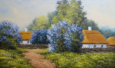Old house in the countryside. Oil paintings rural landscape. Fine art.