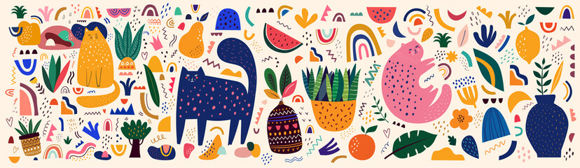 Fototapete - Doodles collection. Decorative abstract horizontal banner with colorful doodles. Hand-drawn modern illustration with cats, flowers, abstract elements