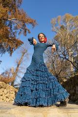 Mujer bailando flamenco en Sevilla Andalucía España