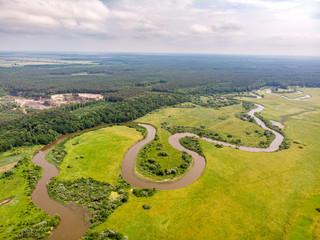Canvas Prints Honey Horyn river, Ukraine. Drone shot. Wavy river