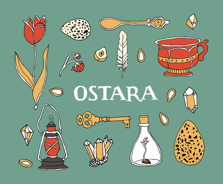 Ostara symbols set. Celtic calendar concept. Spring equinox elements and hand written lettering. Easter eggs, magic crystals, tulip, vintage tea cup, feather, old lantern, seeds and berries