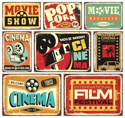 Vintage cinema signs collection. Movie show retro posters set. Vector film events advertisements illustrations.